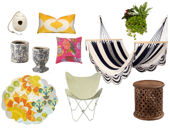 COLORFUL, BOHEMIAN INSPIRED PATIO ACCESSORIES