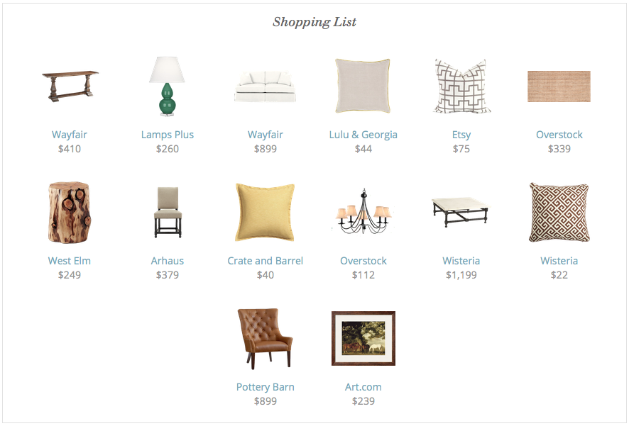 And Here Is The Full Shopping List Included Are A Few More Designer Recommended Accessories For Integrating Reese Witherspoons Living Room Vibe Into