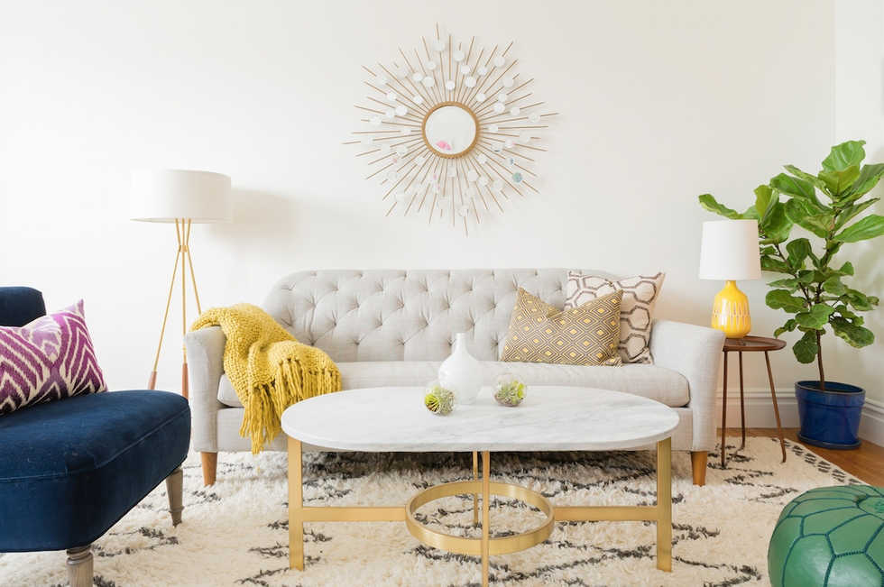 Modern Mid Century Eclectic Living Room With Pops Of Color