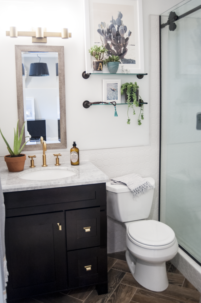 Popsugar editor 39 s stunning bathroom remodel decorist for Small bathroom upgrade ideas