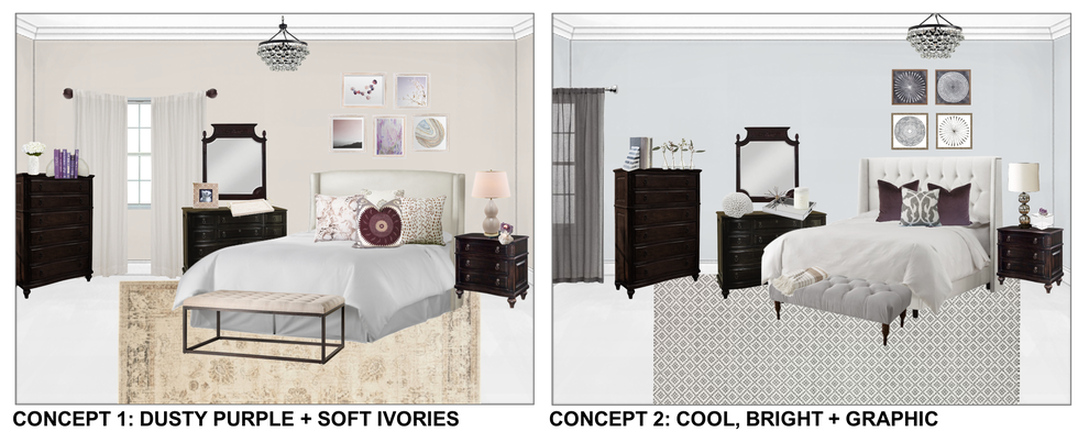 Concept boards for Liz's new bedroom