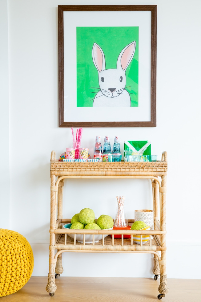 playroom art with bar cart
