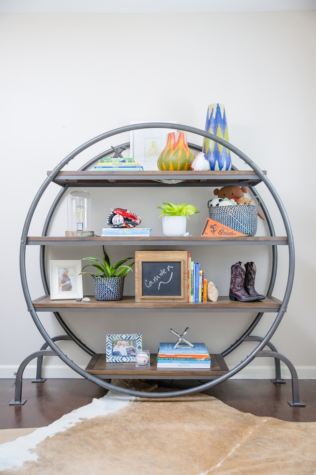 Round Bookcase in playroom