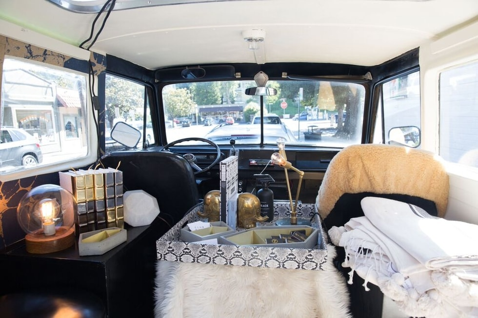 Inside Transformed Vintage Dodge Van