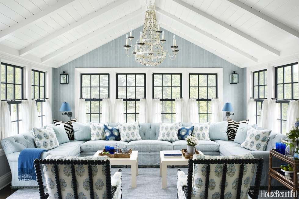 Blue And White Sunroom With Shiplap Ceiling
