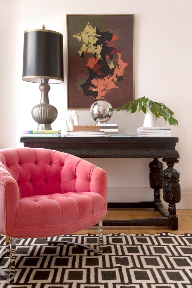Pink Velvet Chair and Re-Decorated Sideboard