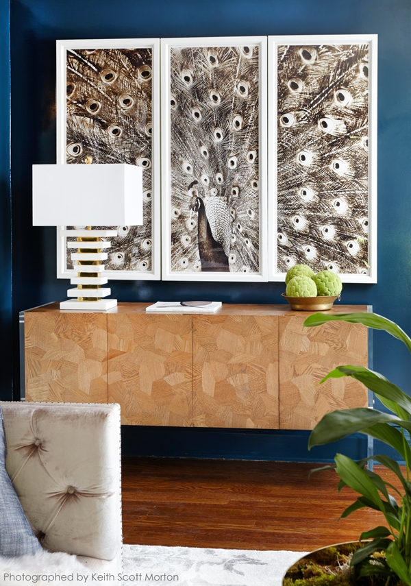 Wood Sideboard and Blue Paint Wall Color