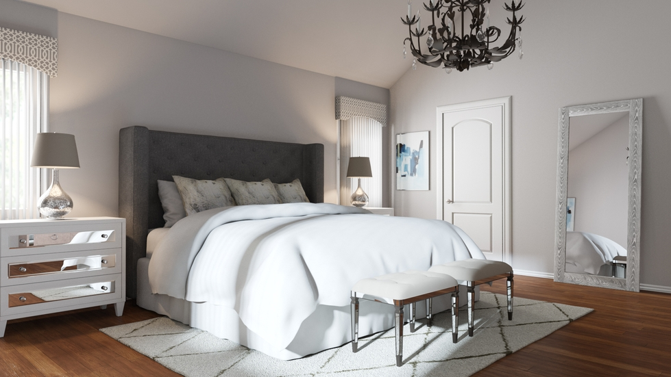 Lush, cozy and sophisticated glam bedroom