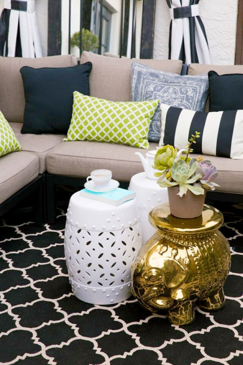 Patio Outdoor Pillows and Tables
