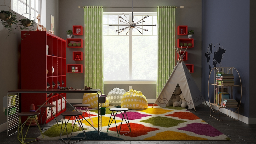 Modern-eclectic playroom
