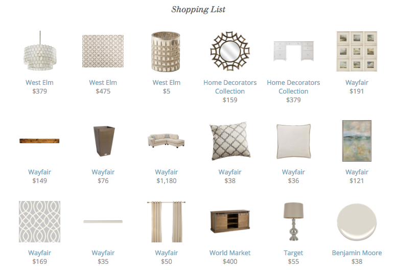 Shopping List For Final Online Interior Design Concept