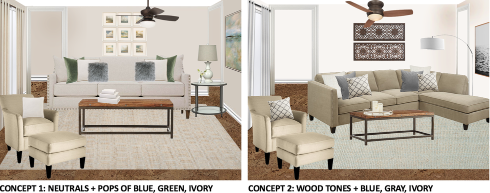 Two different online interior design concepts