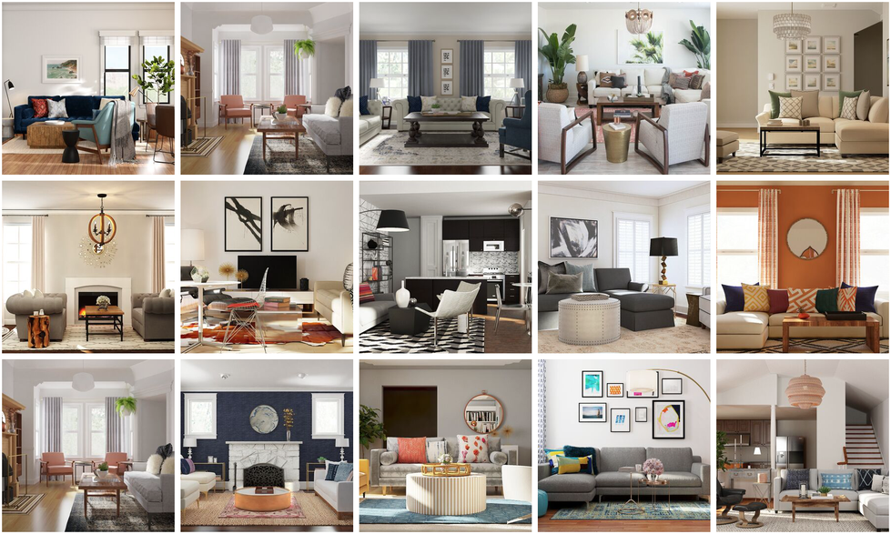 Top 10 Living Rooms all done via Decorist online interior design platform