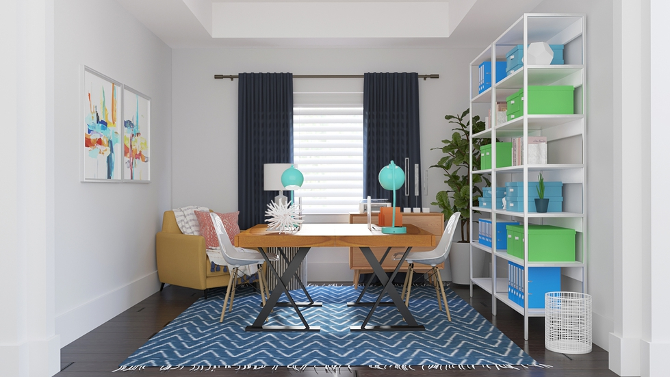 The Bold And Vibrant Color Scheme Brightens Up The Space For These Clients  Who Work From Home. Open Shelving Provide Critical Storage Without Making  The ...