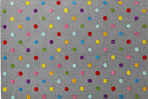 8x10 Grey Polka Dot Rug Decorist