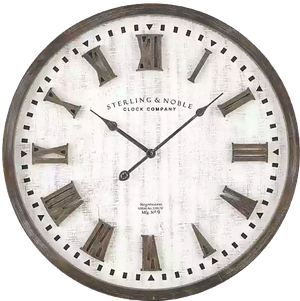 Sterling Noble Farmhouse Collection Rustic Raised Roman Wall Clock In Ivory Decorist