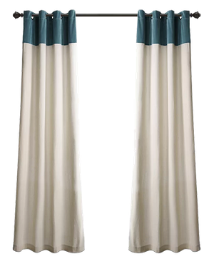 Claudia Solid Semi Sheer Grommet Curtain Panels Set Of 2 Slate Blue Decorist