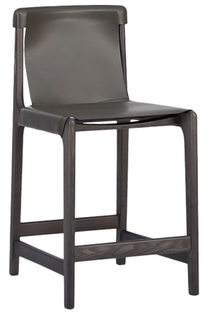 Miraculous Burano Charcoal Grey Leather Sling Counter Stool 24 Machost Co Dining Chair Design Ideas Machostcouk