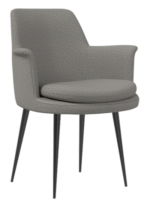 Finley Wing Dining Chair Chenille Tweed Feather Gray Gunmetal Decorist