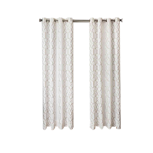 softline trask 84 inch embroidered grommet top window curtain panel in champagne