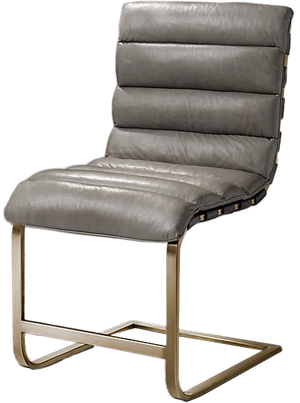 Stupendous Oviedo Leather Side Chair Italian Milano Pewter With Burnished Brass Finish Creativecarmelina Interior Chair Design Creativecarmelinacom