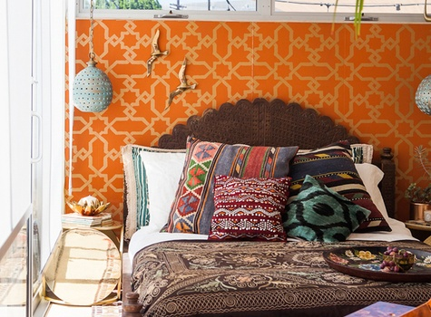 Color Bohemian Bedroom design by Justina Blakeney