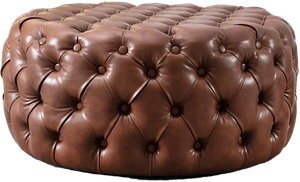 Burmeister 35 4 Tufted Round Cocktail Ottoman Brown Faux Leather Decorist