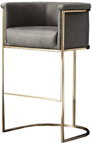 Superb Wexler Barrelback Leather Stool Brushed Brass And Italian Roma Smoke Uwap Interior Chair Design Uwaporg
