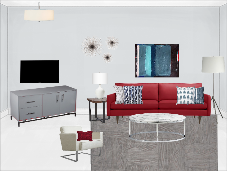 modern living room design with a pop of red   Decorist