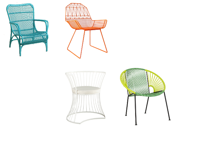 Modern Bright Wire Patio Chairs