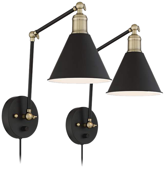 Sayner Black And Antique Br Swing Arm Wall Lamp Set Of 2 Decorist