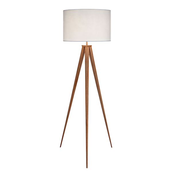 Romanza light brown tripod floor lamp with white shade 60 for Tripod floor lamp silver base white shade