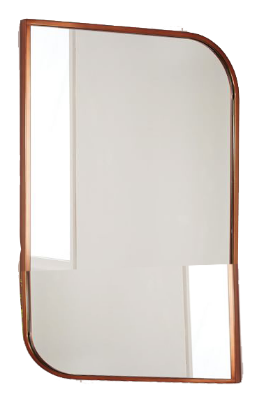 Metal Framed Asymmetrical Wall Mirror Rose Gold Decorist