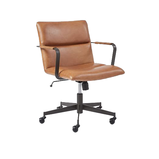 Cooper Mid Century Leather Swivel Office Chair Saddle