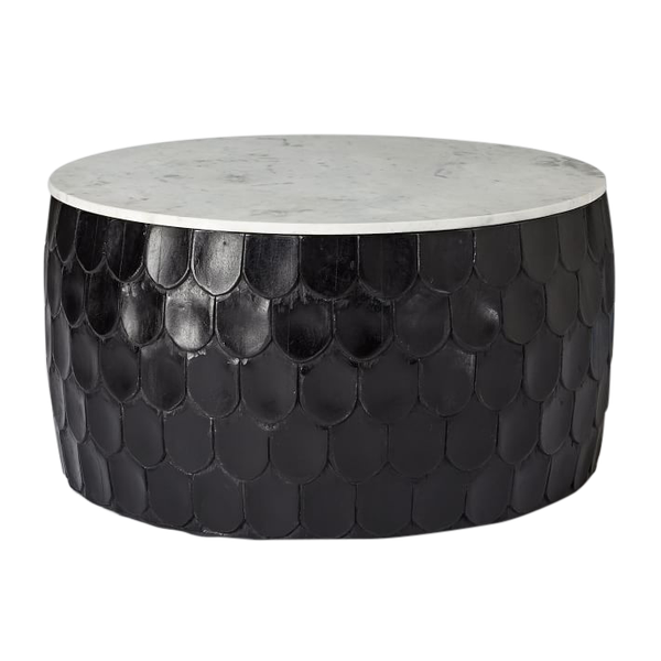 Drum Shaped Coffee Table.Marble Scaled Wood Drum Coffee Table