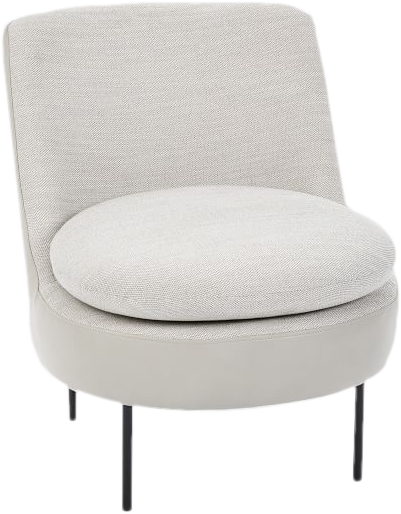 Wondrous Modern Curved Slipper Chair Basket Slub Leather Feather Gray Cement Inzonedesignstudio Interior Chair Design Inzonedesignstudiocom