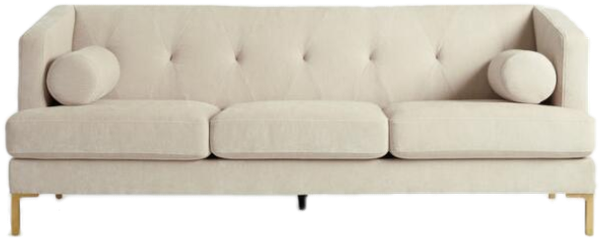 Velvet Tufted Adair Track Arm Sofa With Metal Legs