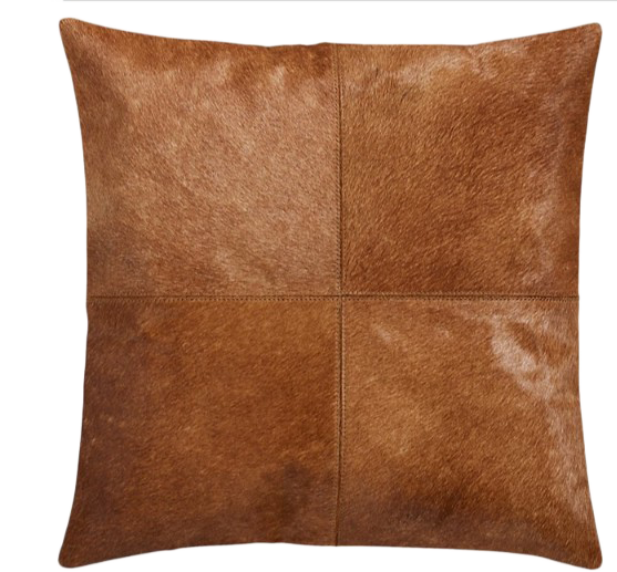 18 Abele Brown Cowhide Pillow With Feather Down Insert Decorist