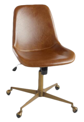 Bi Cast Leather Molded Tyler Office Chair Cognac Decorist