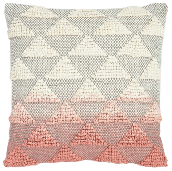 Coral Woven Triangle Indoor Outdoor Throw Pillow Decorist