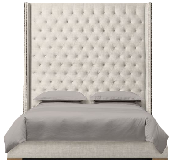 Adler Shelter Diamond Tufted Fabric Bed With Nailheads King 80 Headboard Perennials Performance Textured Linen Weave Natural Storage Decorist