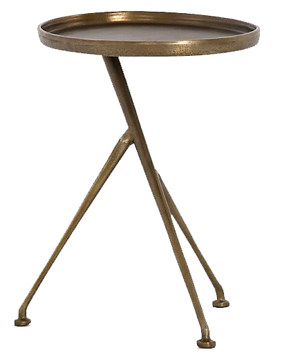 Cecilia Raw Brass Round Metal Accent, Round Metal End Tables