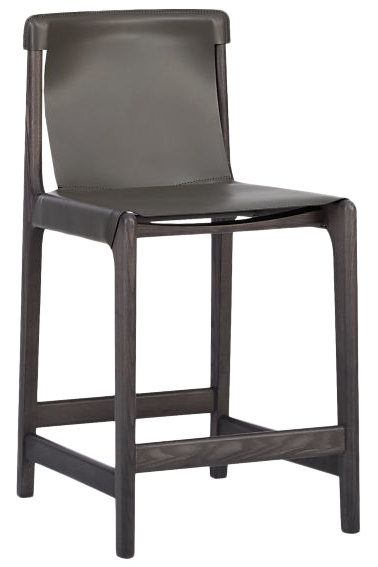 Miraculous Burano Charcoal Grey Leather Sling Counter Stool 24 Short Links Chair Design For Home Short Linksinfo