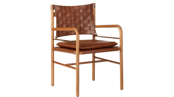 Ord Dining Chair Decorist, Leather Campaign Dining Chair