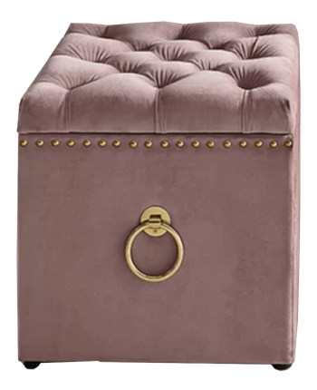 Fabulous Mcclelland Tufted Storage Ottoman Blush Velvet Goldtone Nailheads Caraccident5 Cool Chair Designs And Ideas Caraccident5Info