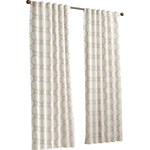 Ginther Geometric Max Blackout Thermal Rod Pocket Curtains Drapes Ivory 52 X95 Decorist