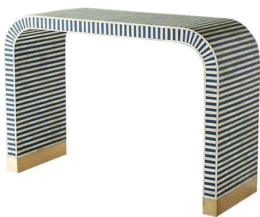 Waterfall Inlay Console Table Blue White Decorist