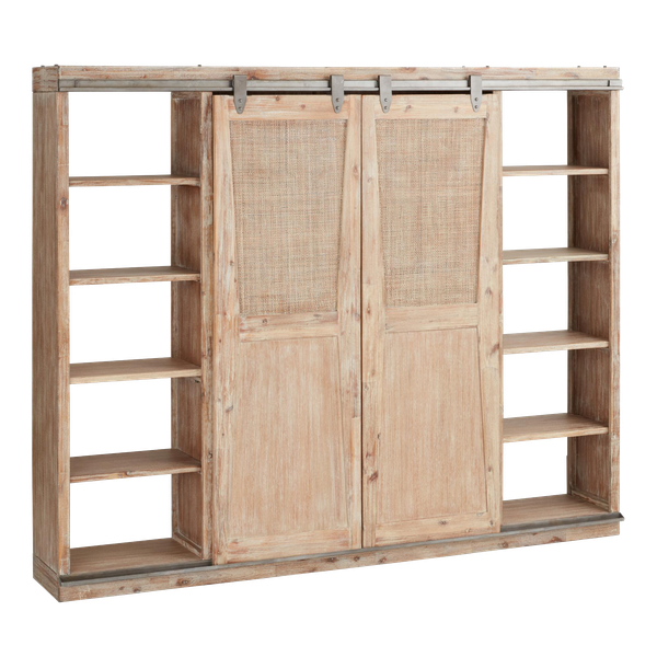 Wood Beach Barn Door Bookcase Decorist