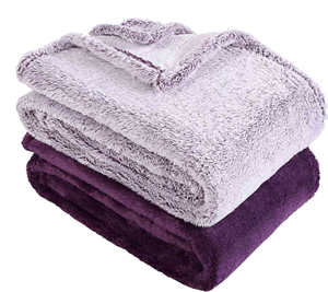 Berkshire Blanket Extra Fluffy Frosted And Solid Blanket Set In Purple Decorist