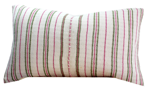 Bohemian HMONG Stripe Textile Embroidered Ethnic Made Piece Tradition Costume pink white Organic Hemp Pillow Case